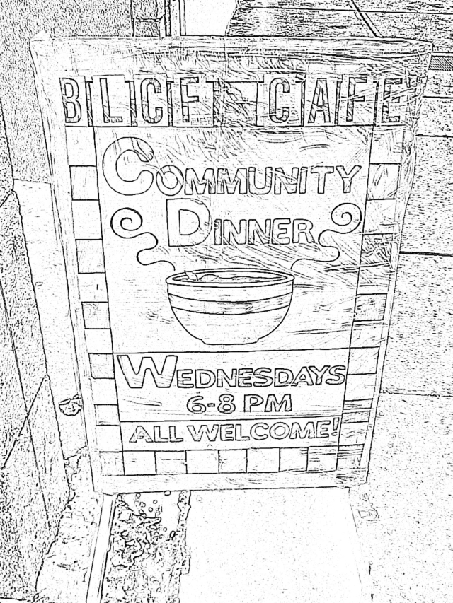 BLCF Church's BLCF Cafe Community Dinner Sign
