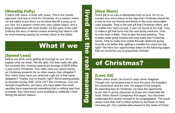 Advent Conspiracy Brochure 20113