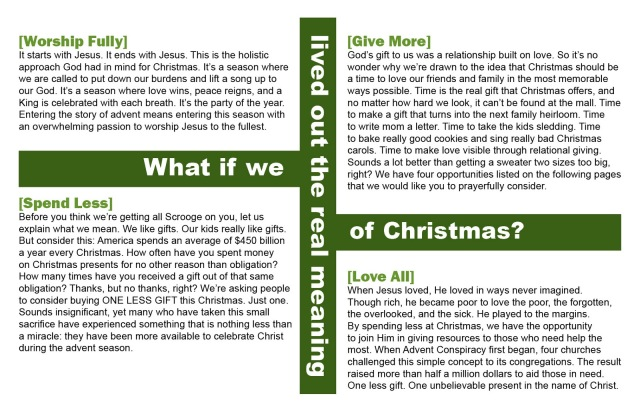 Advent Conspiracy Brochure 20113