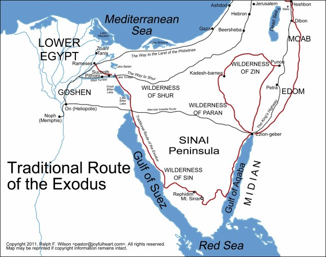 BLCF: map-egypt-sinai-exodus-route