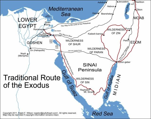 BLCF: map-egypt-sinai-exodus-route