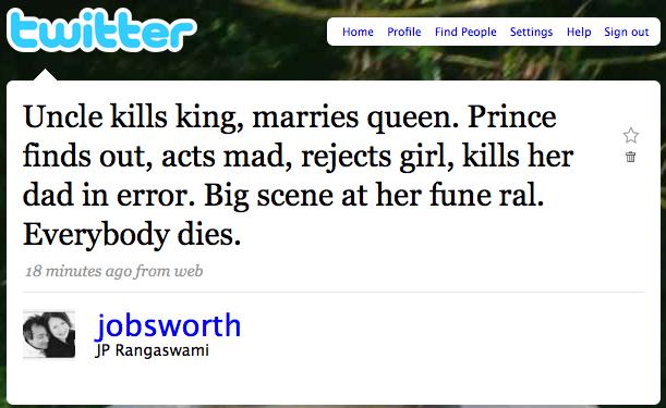BLCF: Shakespeare ala twitter