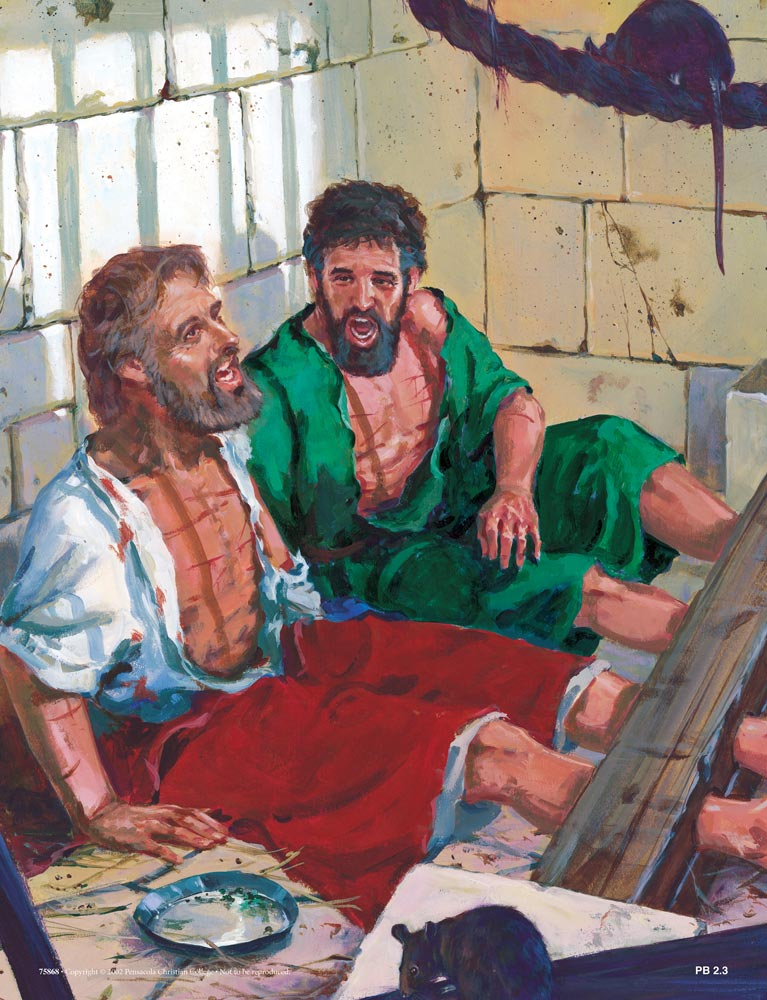 paul and silas in prison Acts 16:25 (nlt) around midnight, paul and silas were praying and  it must  have been rather odd to hear two prisoners singing in their prison.